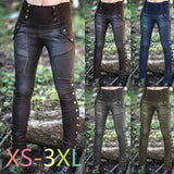 Women's Fashion Retro Studded Split Sexy Pants with Slim Stretch Pocket Pencil Pants Motorcycle Pants