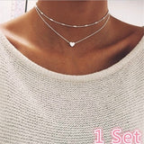 Summer Fashion 925 Sterling Silver Double Layered Love Heart Necklace for Women Choker Charm Chain Clavicle Necklace Wedding Jewelry