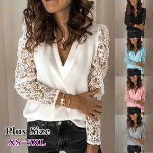Women Casual Lace Long Sleeve T-shirt V-neck Blouse Lacs Sleeve Tops XS-5XL