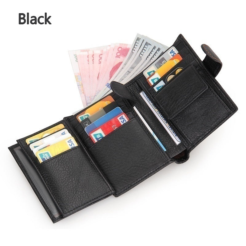 Genuine Leather Mens Credit Card Holder Wallet RFID Blocking Short Trifold Wallet Casual Front Pocket Wallet Coin Purse for Travel Business