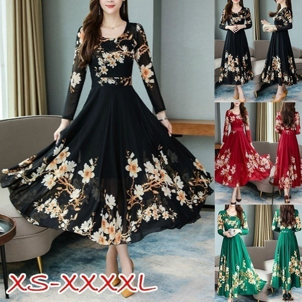 New Women Fashion Spring Autumn Elegant A-line Dress Print Long Sleeve Casual Dresses Plus Size