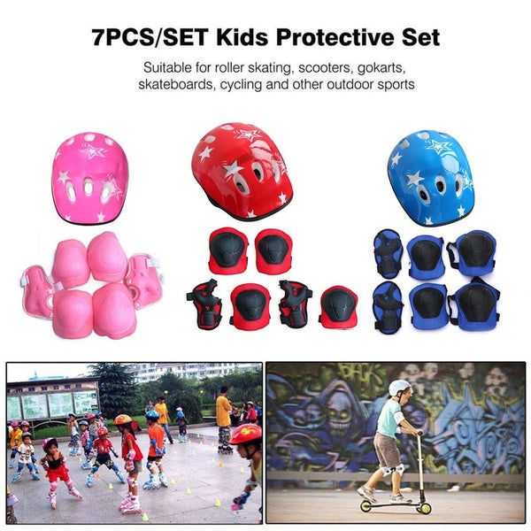 7PCS/SET Kids Protective Gear Set Scooter Skate Roller Cycling Knee Elbow Pads