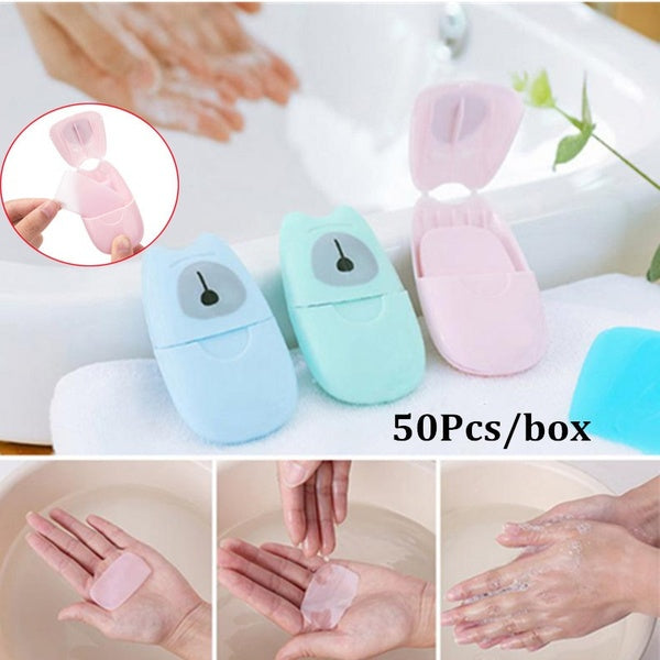 50pcs/box Disposable Soap Paper Portable Travel Hand Washing Scented Sheets