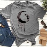 New Summer Fashion Women Short Sleeve Crescent Moon Retro Design Loose T-shirt Plus Size Ladies Round Neck Cotton Graphic Tees