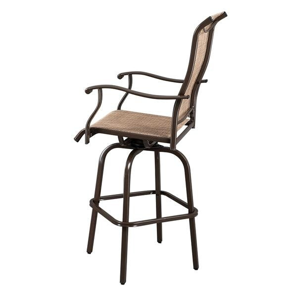 2pcs Wrought Iron Swivel Bar Chair Patio Swivel Bar Stools Brown