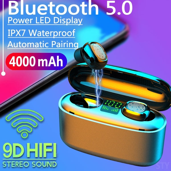 2020 New 9D HiFi Bluetooth 5.0 CVC8.0 Noise Reduction Stereo Wireless TWS Bluetooth Headset LED Display Headset Waterproof Dual Headphones with Power Bank Chagring case (Monaural Version 100/1500mAh or Led Binaural Version 4000mAh)