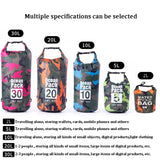 2L/5L/10L/15L/20L/30L Portable Camouflage Rafting Diving Dry Bag PVC Waterproof Folding Swimming Beach Backpack