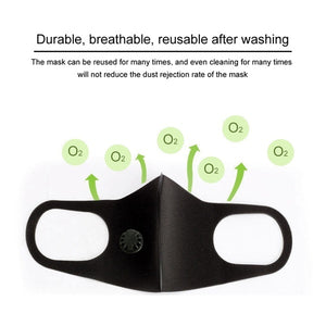 1PC Breathable Dustproof Mouth Mask Anti-Dust Haze Pm2.5 Flu Protection Face Masks with double valve For Men/Women