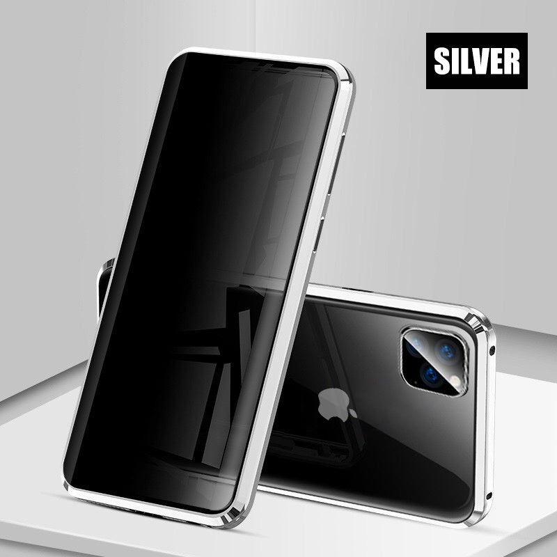 Privacy Tempered Glass Magnetic Case for iPhone 11/11 Pro /11 Pro MAX/6 Plus/6s Plus/iPhone 7/7 Plus/ 8/ 8 Plus/iPhone X /Xs /XR /Xs Max Anti Peep Magnet Metal 360¡ã Protection Cover
