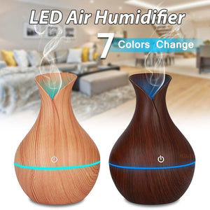 130ml USB Electric Humidifier Essential Aroma Oil Diffuser Ultrasonic Wood Grain Air Humidifier USB Mini Mist Maker LED Light for Home & Office