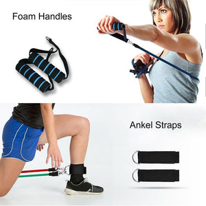11PCS Resistance Bands Set For Physical Therapy, Resistance Training, Home Workouts,Yoga-Best Gift With Door Anchor Handles Ankle Straps And Carry Bag