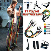 Load image into Gallery viewer, 11PCS Resistance Bands Set For Physical Therapy, Resistance Training, Home Workouts,Yoga-Best Gift With Door Anchor Handles Ankle Straps And Carry Bag