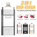 3-in-1 USB 3.0 Usb Flash Drive for IPhone / IPad / Android / PC I-Flashdrive Pen Drive / Otg Usb Flash Stick for Apple and Android & USB