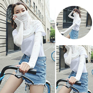 2PCS Floral Print Ice Silk Arm Sleeves Outdoor Sport Cycling Sun UV Protection Hand Cover For Women