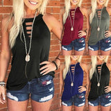 Women's Summer Fashion Crew Neck Sleeveless Tank Tops Casual Solid Color T-shirts Vest Plus Size S-5XL