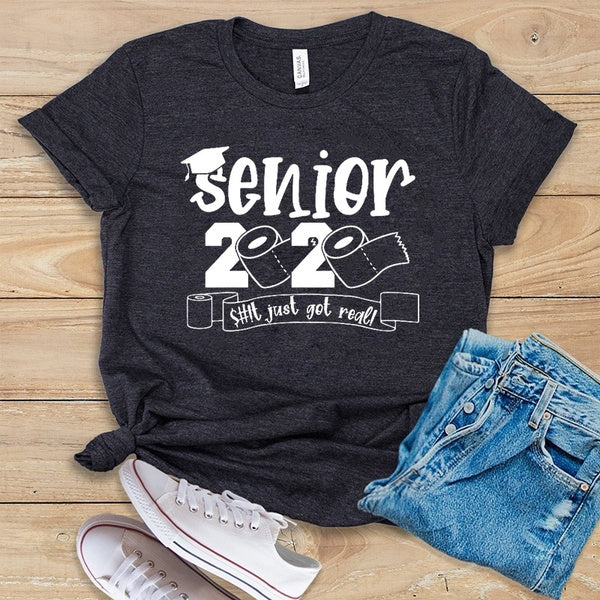 Senior 2020 Gift for Her, Seniors Friends Class of 2020 This Just Got Real Shirt Graduation Gift The One Where They Graduate