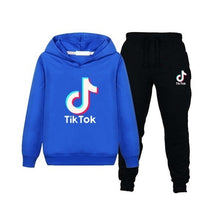 Load image into Gallery viewer, New fashion sweater children's clothing Tik Tok printing hooded pants two-piece suit casual hooded sweatshirt suit sportswear boys and girls