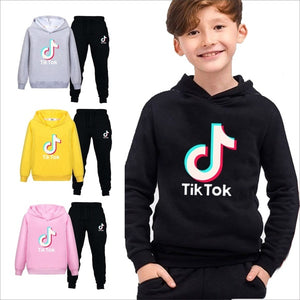 New fashion sweater children's clothing Tik Tok printing hooded pants two-piece suit casual hooded sweatshirt suit sportswear boys and girls