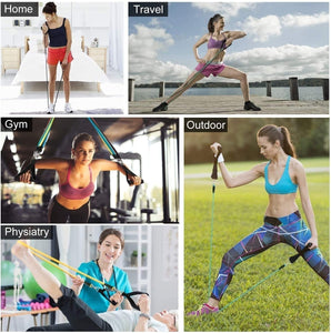 11Pcs/Set Portable Exercise Resistance Band Set Stackable up to 150 lbs (5 Stackable Exercise Bands with Door Anchor, Ankle Straps, Carrying Case) Exercise Stretch Fitness Home Set