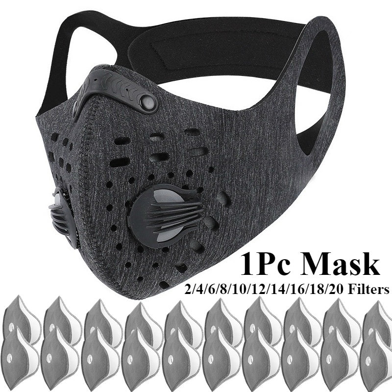 1Pc Outdoor Cycling Mask N95 PM2.5 Dust Mask Can Be Washed Reusable Isolate virus Masks with 2/4/6/8/10/12/14/16/18/20 Filters