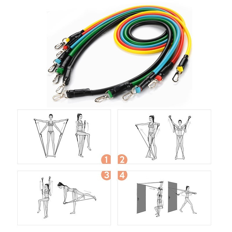 Fitness Resistance Bands Set Natural Rubber Latex Exercise Tube Practical Elastic Training Elastic Pull Rope Yoga Pull String
