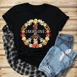 New Women Fashion Short Sleeve Hippie Floral Peace Sign Imagine T-shirt