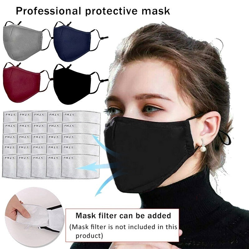 Breath Valve PM2.5 Mouth Mask Washable Anti-Dust Anti Pollution Anti-fog Mask Cloth Activated arbon Filter Respirator