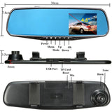 FHD 1080P Car Video Recorder 4.6'' LCD Screen DVR Car Rearview Mirror Dash Camera
