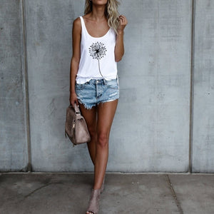 Fashion Women Dandelion Printed Sleeveless Vest Summer Wear Tank Top S-3XL