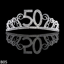 Load image into Gallery viewer, 1pc 18th 30th 40th 50th Birthday Crown Hat Metal Rhinestone Inlaid Headband for Girls Happy Birthday Hair Hoop Anniversary Party Decoration