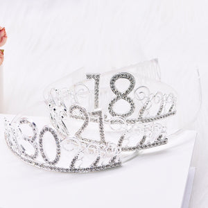 1pc 18th 30th 40th 50th Birthday Crown Hat Metal Rhinestone Inlaid Headband for Girls Happy Birthday Hair Hoop Anniversary Party Decoration