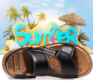 Summer Mens Genuine Leather Sandals Leather Beach Shoes Large Size Casual Sandals Slippers Plus Size Sandalen Sandales Sandaler Sandalias Sand¨¢lias Sandali Size 38-48