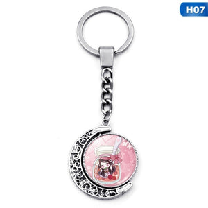 1Pcs Anime Demon Slayer Kimetsu No Yaiba Cosplay Keychain Time Gem Double-Sided Rotating Keychain Suitable For Anime Fans Bag Bags Coin Purse Keychain Fashion Jewelry Pendant