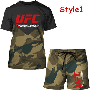 HOT 2020 New UFC Tracksuit Fashionable Men Camouflage Green Casual T-shirt shorts Pants 2 Pcs Set Sport Suit