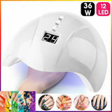 Women's Fashion Nail Dryer for Nail LED UV Lamp 36W for All Gels 12 Leds UV Lamp for Nail Machine Curing 30s/60s/99s Timer USB Connector Varnish  LED Lamp for Nails Dryer