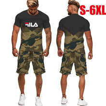 Load image into Gallery viewer, Fashion Men's T-Shirt + Short 2 Pieces Set Summer Jogging Suits