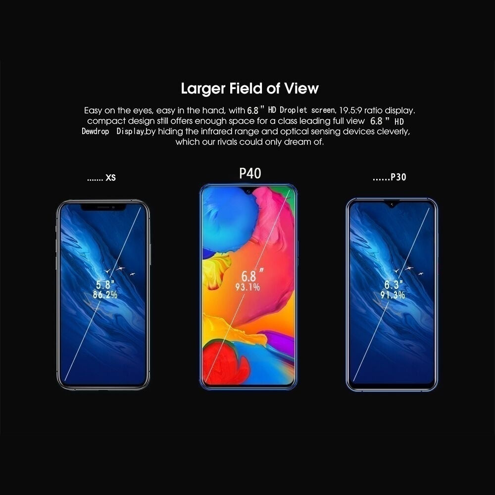 New Smartphone with 4G /5G Network 6.8inch 8+256GB Large Memory 10 Core Android 10.0 System with Face Recognition Fingerprint Unlock Smart Mobile Phone