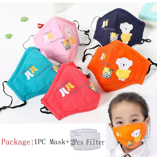 Kids Mask Anti Dust Breathable Cotton Protective Mask Children Cartoon Cute Face Mask Reusable