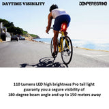 110 Lumens High Brightness Bike Rear Light Red, Powerful LED Bicycle Tail Light Rechargeable with 7 Steady/Flash Modes