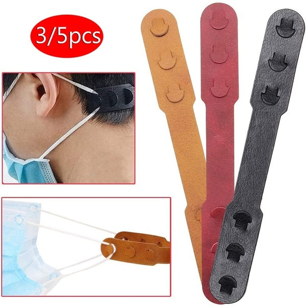 5/3 Pcs Third Gear Adjustable Mask Extension Hook Mask Buckle Extension Hook Soft Artificial Leather Masks Ear Strap Extension Buckle Adjustment Hook For All Kinds Mask...