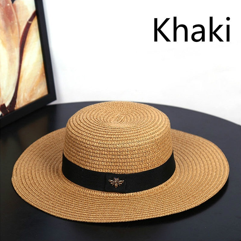 Fashion ladies summer beach sun hat straw Panama hat cowboy fedora hat gangster men's jazz hat