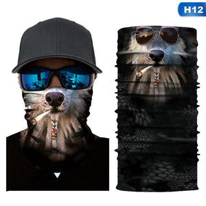 18 Styles New 3D Printed Animal Mask Seamless Bandana Headband Multifunction Bandanas Scarf Dust-Proof Anti-Pollution For Motorcycle Bike Hiking Sun Wind Protect