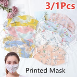 3/1pcs Summer Sunscreen Thin Breathable Chiffon Print Face Mask for Women Ladies Dust-proof Pollen Protective Mouth-muffle Masks
