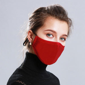 PM2.5 Mouth Mask Anti-Dust Anti Pollution Mask Cloth Activated 2 Filter Respirator