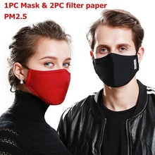 Load image into Gallery viewer, PM2.5 Mouth Mask Anti-Dust Anti Pollution Mask Cloth Activated 2 Filter Respirator