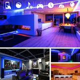 LED Strip Lights, IP65 Waterproof 16 Million Color Changing LED Light Strip 5050 RGB Rope Lights with Bluetooth Controller Sync to Music APP for Home Kitchen TV Holiday Party (1m/2m/3m/4m/5m)