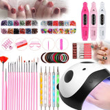 36W Cartoon Panda With 1set Power Professional Electric Manicure Machine Pen 36W UV LED Lamp 12 LEDs Nail Dryer Lamp for Curing All Types Nail Gels Polish Nail Art Tools