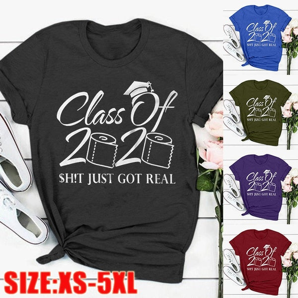 2020 New Arrival Women's Fashion 'Class Of 2020' Letter Printed T-shirts Summer Short Sleeve Tops Shirts Graphic Tees Plus Size S-5XL
