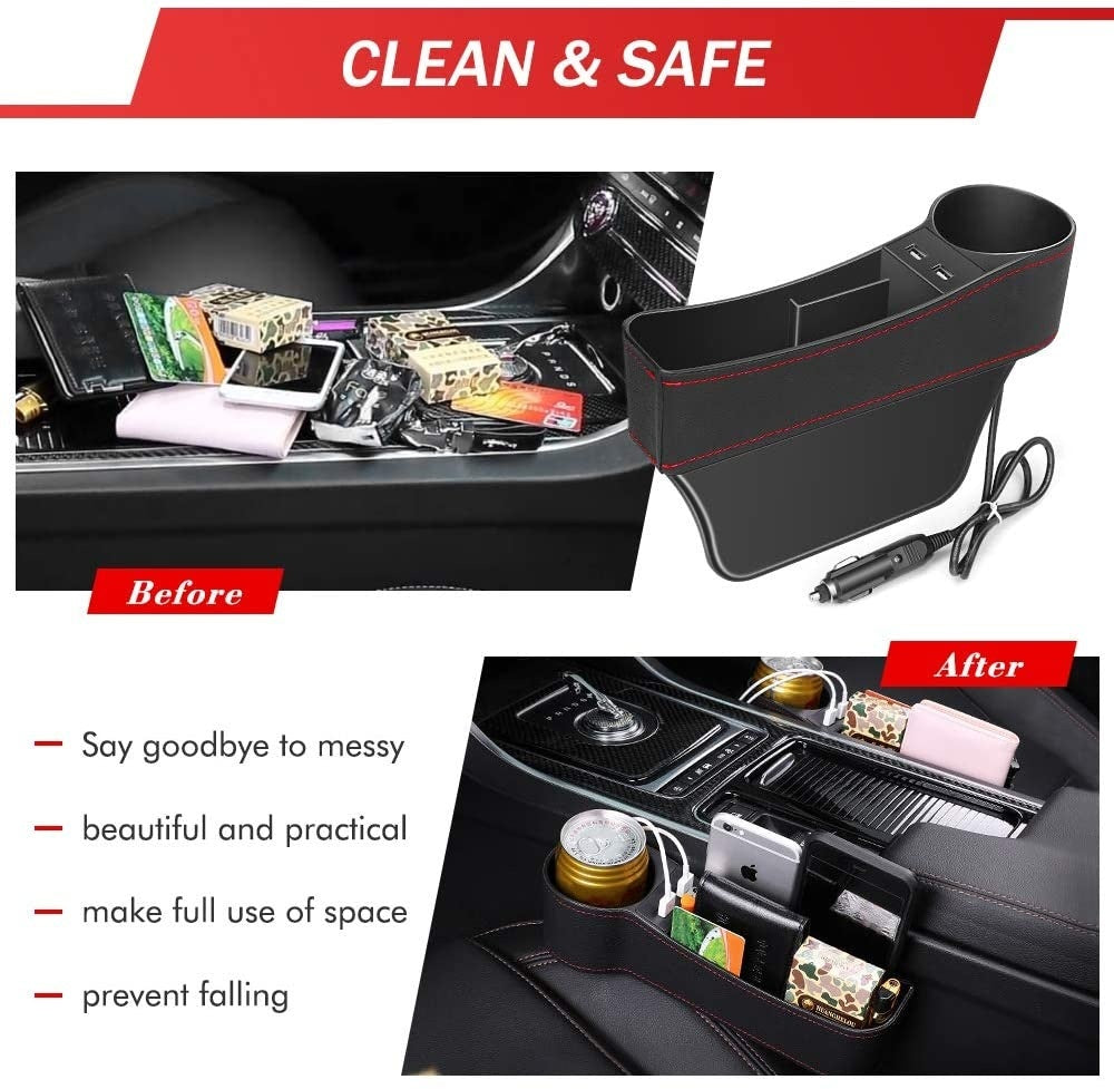 1/2PcsElectop Car Seat Gap Filler, Car Seat Gap Organizer Front Seat with Cup Holder/2 USB Ports, Premium PU Leather Console Side Pocket Car Organizer Car Seat Storage Box
