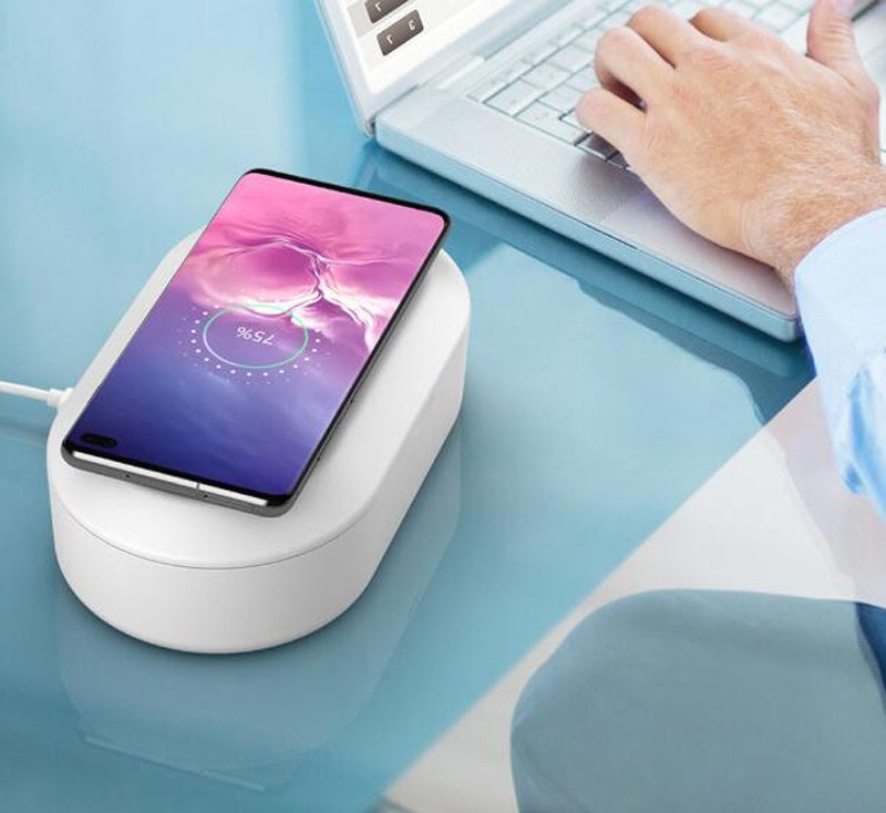 UV Smartphone Sanitizer Wireless Charger Watch Jewelry Cleaner Portable Disinfector Box 3-in-1 UVC Light Ozone Aromatherapy Sterilizer